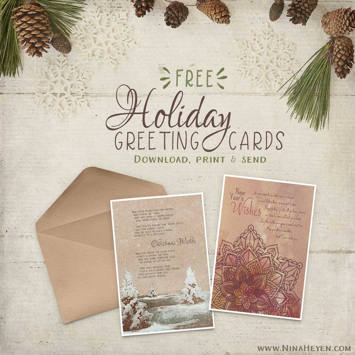 Free printable Christmas & New Year's Greeting Cards