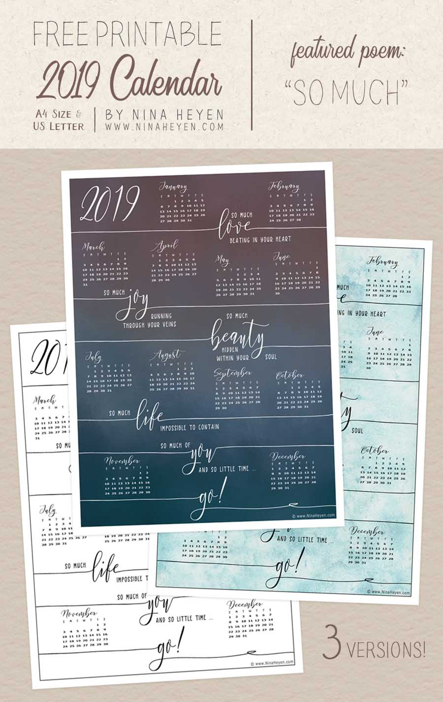 free 2019 printable year at a glance calendar