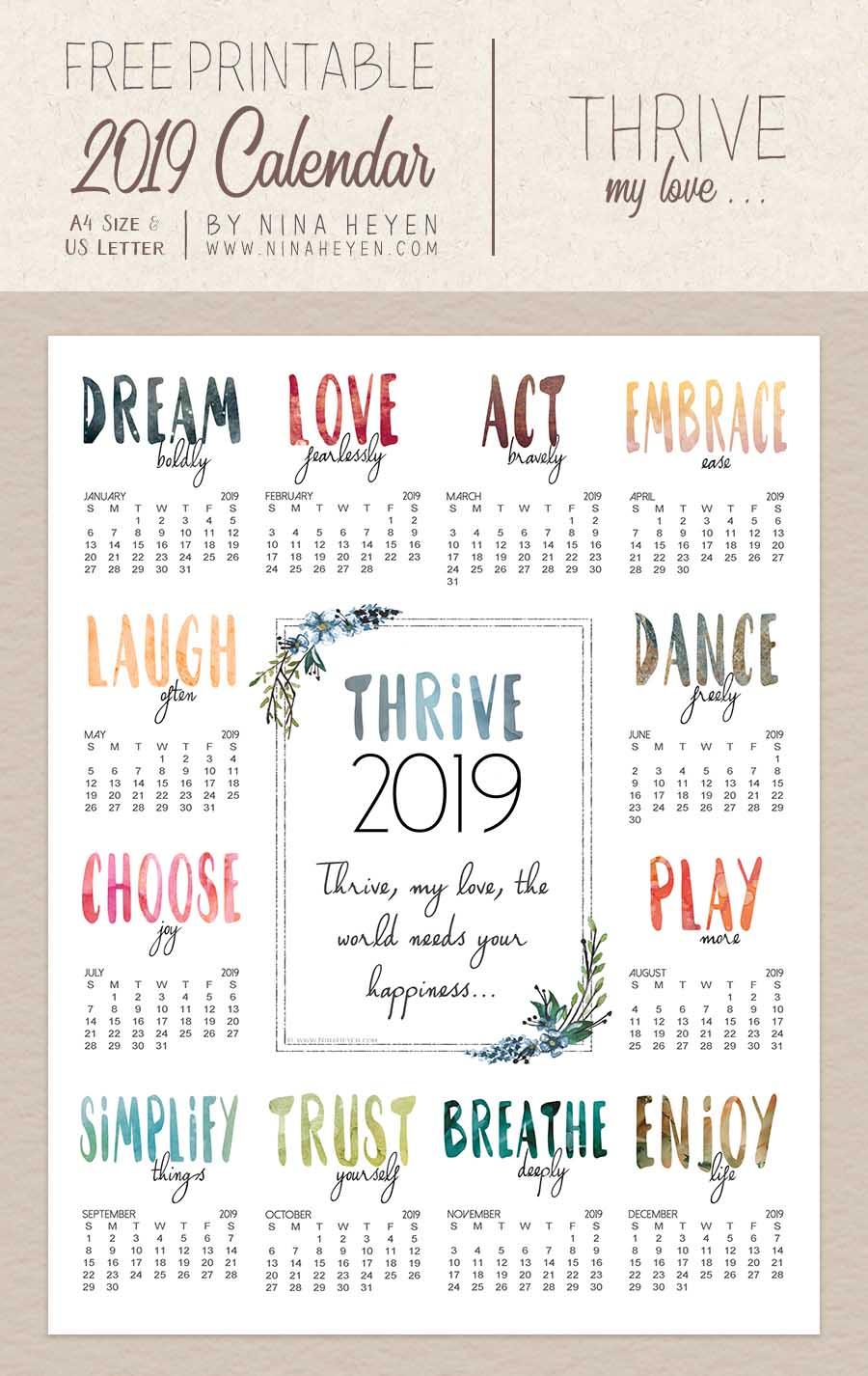 Thrive Free Printable Wall Calendar 2019 Nina Heyen