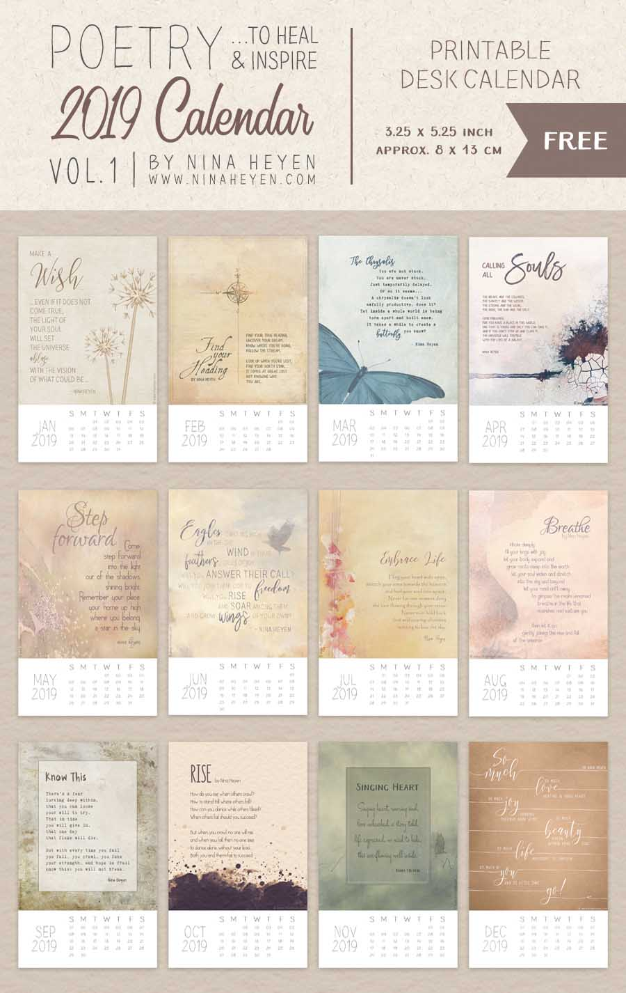 2019 Inspirational Poetry Calendar Vol 1