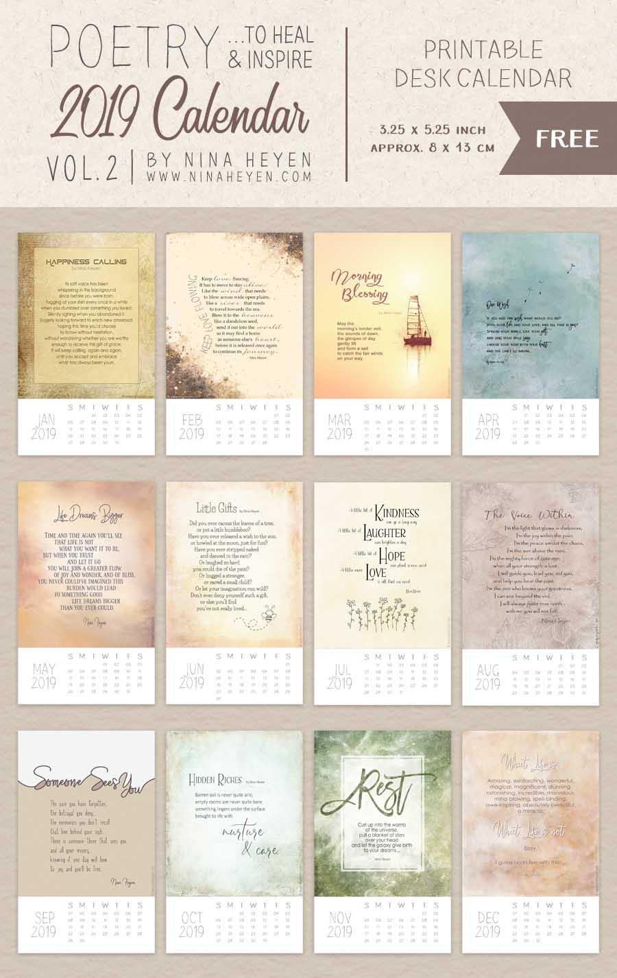 Poetry Calendar 2019 Vol 2 Free Printable Inspirational Desk