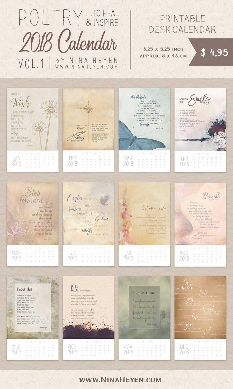 Poetry Calendar 2018 | FREE Printable Inspirational Desk ...