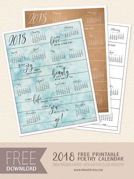 2018 Free Poetry Calendar